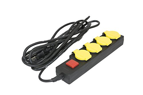 Mehrfachsteckdose - Outdoor 4 fach Steckdosenleiste mit Kindersicherung und Schalter (1,4 m Kabel) schwarz (10 m Kabel)