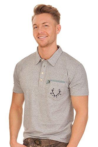 Spieth & Wensky Trachten Herren Shirt - Eldorado - Grau, Größe L