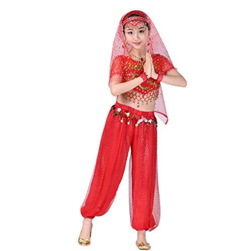 Lvguang Mädchen Bauchtanz Set Tanz Kurzarm Top & Tanz Schmale Hosen & Kopf Schnalle & Tanz Schleier & Halskette & Ohrringe & Armband (Rot, Asia - Baby Bauch Tanzen Kostüm