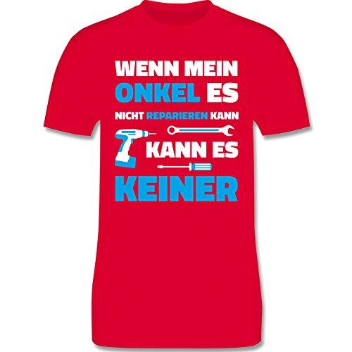 Bruder & Onkel - Wenn Mein Onkel ES Nicht Reparieren Kann - Herren T-Shirt Rundhals Rot