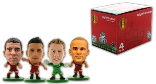 SoccerStarz 4 Figurine Blister Pack of Belgium International Stars in The Home Kit Featuring Mignolet  Mertens  Kompany and Hazard
