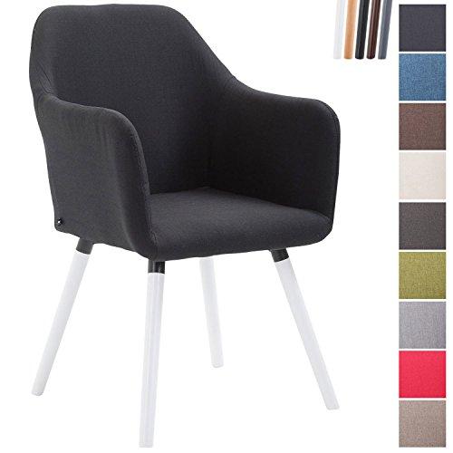 CLP Esszimmerstuhl PICARD V2, Designerstuhl mit Buchenholzgestell, Polsterstuhl mit Stoffbezug Schwarz, Gestellfarbe: Weiß (Weiß Polsterstuhl)