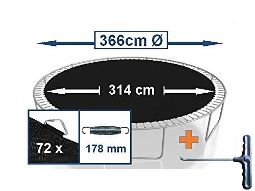Sprungtuch Sprungmatte Ersatzteile für Trampolin Ø 366 cm 72 Ösen (Federn 17,8 cm)