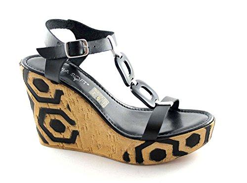 3886bd74386a En Femme Iad16941 Nero Cuir Noires Chaussures Bracelet Sandales Soft  Compensées Cinzia gv685