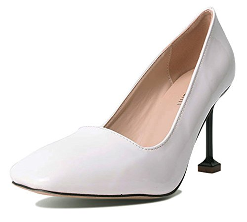 Aisun Damen Modern Quadratische Zehen Lack Kunstleder Low Top Stiletto High Heels Pumps Für Arbeit Weiß