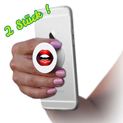 Preisvergleich Produktbild 2 Stück ! Kuss Mund Fingerhalter - praktische Handy-Halterung und Ständer für Smartphones, Tablets & e-Reader universelle Finger-Halterung mit Kuss Mund