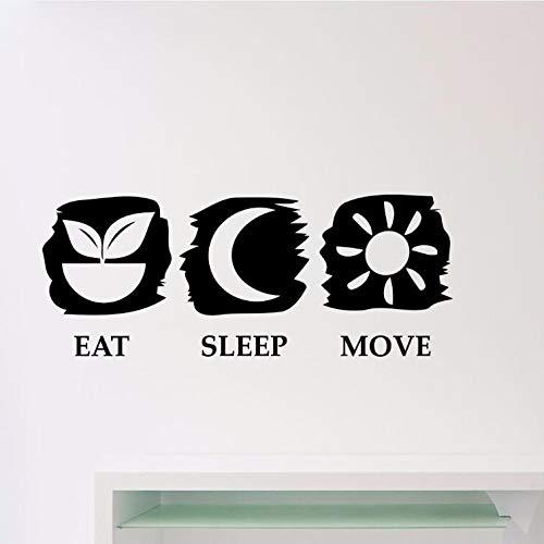 104x42 cm Comer dormir mover tatuajes de pared extraíble gimnasio Fitness cita etiqueta de la pared...