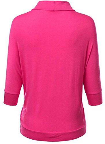 LemonGirl Women's Batwing Sleeves Pocket Cardigan Tops Rose