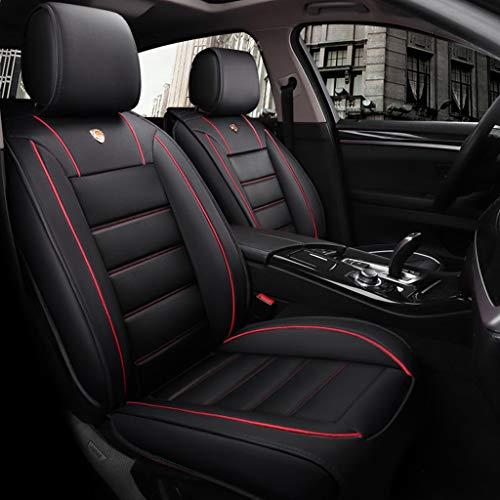 Lgan Autositzbezug, vorderer und hinterer 5-Sitzer-Komplettsatz, Universal-Leder, Vier Jahreszeiten, kompatibel mit Airbag-Sitzprotektoren, wasserdicht. (Farbe : Black red) (Taurus Ford Auto-sitzbezüge)