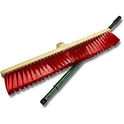 Kibros 2361BM | Balai de cantonnier manché | Longueur 60 cm | Garnissage PVC rouge | Monture expansée | Manche télescopique 0,80 à 1,30 mètre
