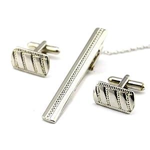 HONG-Accessories Manschettenknöpfe Krawattenklammer Twill Set Simple