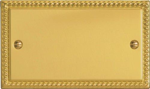 Varilight - 2 Gang Double Blank Plate, Georgian Brass Finish - XGDB by Varilight 2 Gang Blank Plate