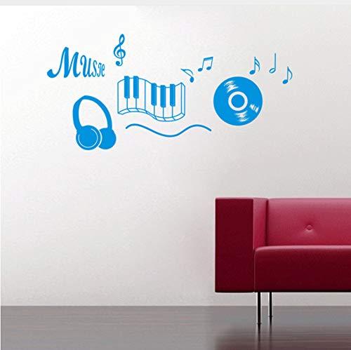 Xqi wangpu musica sticker cuffie tema musica arredamento camera da letto danza musica nota adesivo rimovibile adesivo de parede camere decor119x56cm