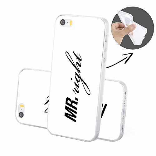 FINOO | Silikon-Handy-Case für iPhone 6 / 6S | weiche, transparente, flexible Silikon-Handy-Hülle mit verschiedenen modernen Motiven für Apple Smartphone | Blondie Black Mr right white