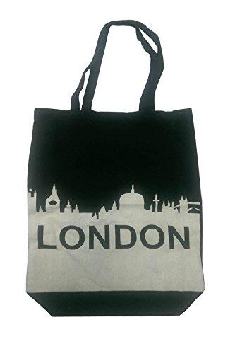 100% coton épaule Londres imprimé à la main élégant sac en toile Nouveauté fourre-tout (noir-Londres)