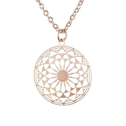 Tara Kette Mandala Edelstahl Yoga Yogaschmuck Hinduismus Talisman Glücksbringer Schutzamulet Farbe Rosegold