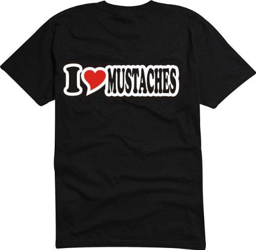 T-Shirt Herren - I Love Heart - I LOVE MUSTACHES Schwarz