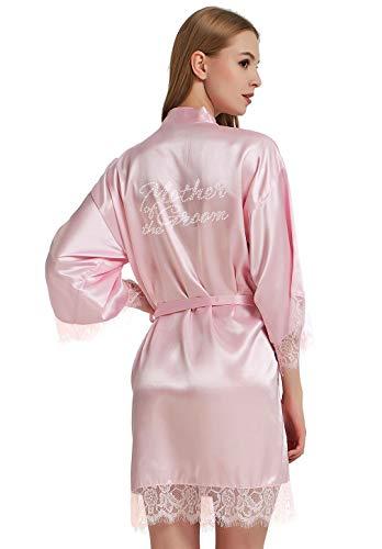 WPFING Braut Robes weiße Spitze Brautkleid Party Robes Strass Satin für Frauen - - XX-Large