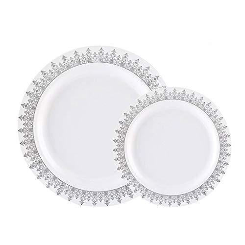 YC-Einweg-Brotdose 60PCS Haushalt Einweg for Feste, Bankette, Beinhaltet Set 30 Dinner Plates 30 Dessertteller (Color : Silver) (Stapelbar Dessertteller)