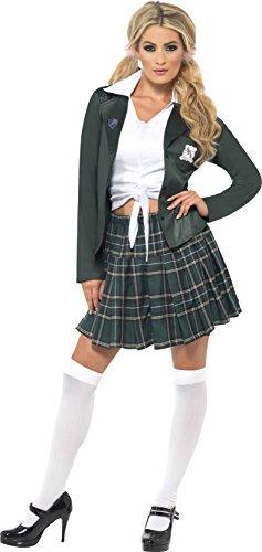 Smiffys Braves Schulmädchen Kostüm mit Hemd Rock Blazer und Marabou Haarklemmen, ()
