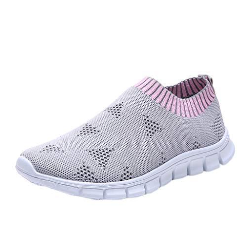 LILIGOD Frauen Outdoor Turnschuhe Mesh Freizeit Sportschuhe Slip-On Atmungsaktive Schuhe Flache Bequeme Laufschuhe Mode Wild Sneakers Straßenlaufschuhe Fitness Einzelne Schuhe