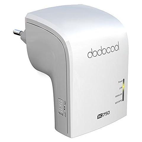 dodocool Répéteur Wifi AC750 Dual Bande Routeur 2.4GHz 300Mbps and 5GHz 433Mbps sans fil AP (Ap Router)