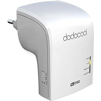dodocool Répéteur Wifi AC750 Dual Bande Routeur 2.4GHz 300Mbps and 5GHz 433Mbps sans fil AP ,Blanc
