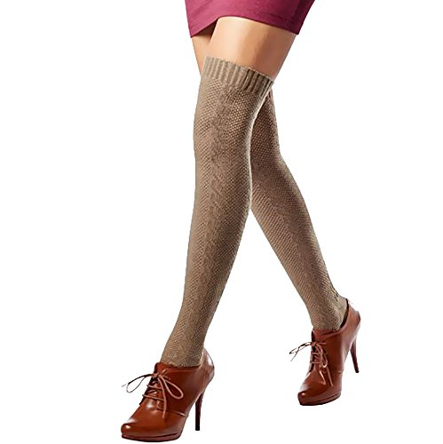Esmara® Damen Overkneestrümpfe aus Baumwolle (Gr. 35-38, Taupe)