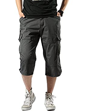 SMITHROAD Herren Cargo Short 3/4 Chino Shorts 7-Pocket-Style Kurze Hose Freizeithose M L XL XXL 3XL 5 Farben