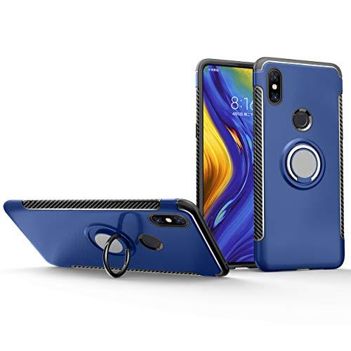 Botongda Funda Xiaomi Mi Mix 3,Cubierta de protección Antideslizante a Prueba de Golpes,Soporte de Anillo Giratorio de Metal Giratorio de 360 Grados para Xiaomi Mi Mix 3-Azul
