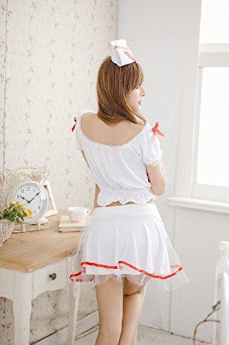 Shangrui Femminile Bianco Split Lo Shi Intima Cosplay Dell'infermiera del Vestito Innocente Nurse Racy Lingerie W085 Bianco