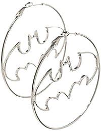Batman - Boucles d'oreille créoles logo - Métal, diamètre 5,8cm - Argenté - Elbenwald