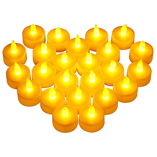 24pcs LED Candle Lights, OMorc Battery-powered Flameless LED Tealight Warm Yellow for Party, Festival, Christmas Decoration in Bedroom, Living Room, Baby Room(Child&Pet Friendly)