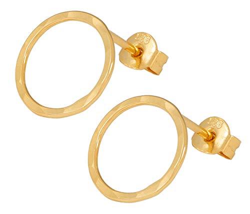 Charlotte Wooning Damen Ohrstecker Circles Hammered Gold kleiner Kreis offen Gehämmert Silber Vergoldet ECHg