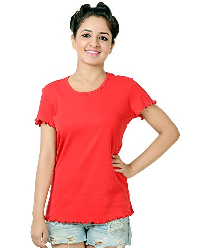 Neevov Women's Red Lettuce Edge Tee -S