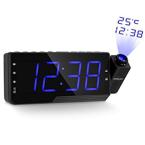 Projektionswecker zeepin FM Radiowecker mit 120° Flip-Projektionsanzeige » 7,5\'\' LED-Display Projektionuhr/ 3-Alarm mit USB-Ladeanschluss/ 3 Helligkeitsstufen mit Dimmerfunktion, Uhrenradio