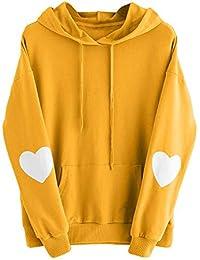 VJGOAL Moda Casual para Mujer de Manga Larga Lindo corazón Sudadera con Capucha Sudadera con Capucha suéter con Capucha Tops Blusa