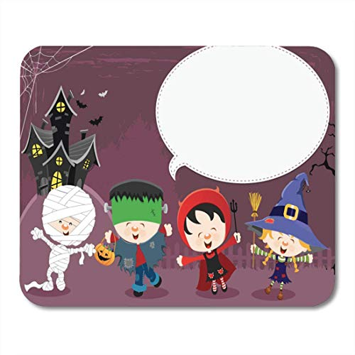Luancrop Mauspads Spiel Cute Halloween Message Kid Spukhaus Party Frankenstein Mauspad für Notebooks, Desktop-Computer Matten Bürobedarf