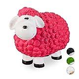 Relaxdays Gartenfigur Schaf, Tierfigur, frostsicher, wetterfest, handbemalte Gartendeko, innen & außen, Keramik, pink