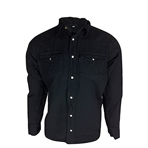 Mens Classic Long Sleeved Denim Shirts S-3XL Available in Black and Blue Stonewash Full Sleeve Shirt Flap Collar with Press Stud Fastening Front Casual Western Mens 2 front Pockets
