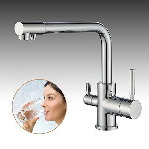 Homelody - Küchenarmatur mit Wasserfilter-Funktion, 360° drehbar, Chrom