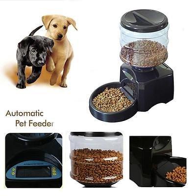 Haustier Futterspender Futterautomat Automatisch Futternapf für Hunde und Katzen mit Ton-Aufnahmefunktion ca.3kg Batterie-Betrieb Schwarz (Schwarz)