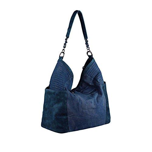 OBC ital-design XXL Damen Stern Tasche Fransen Handtasche Canvas Baumwolle Strasssteine Gold-Silber Bowling Beuteltasche Hobo-Bag Henkel Shopper CrossOver (Blau-Silber) Dunkelblau 48x30x17 cm