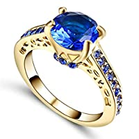 Gold plated women's ring inlaid with blue Sapphire stones US size 8