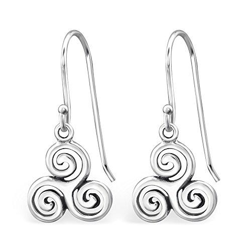 Pendientes de plata 925/000Circona Triskel Tribal celta diseño celta