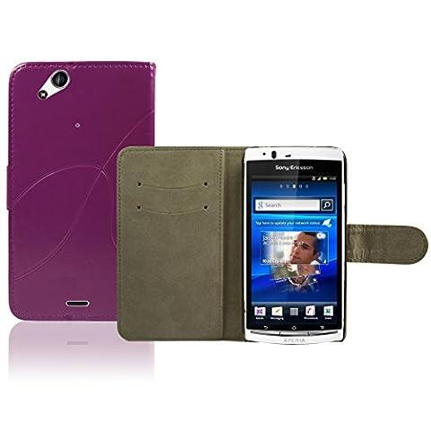 Sony Ericsson Xperia Arc S / Arc X12 Premium Leder Flip Case - Violett Pu Leder Schutz Hülle Brieftasche Case Für Sony Ericsson Xperia Arc S - thinkmobile
