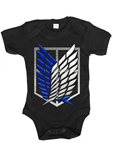 (clothinx Baby Body Unisex Aufklärungstrupp Wappen AOT Schwarz Gr. 80-86)