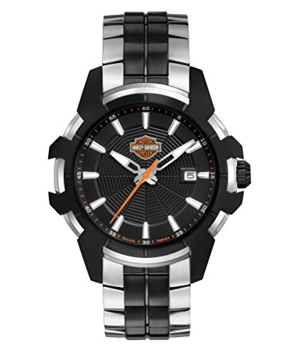 Harley Davidson Men's Quartz Watch with Black Dial Analogue Display and Two Tone Leather Bracelet 78B124