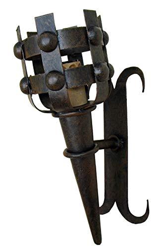 Aplique antorcha de forja medieval pequeño.