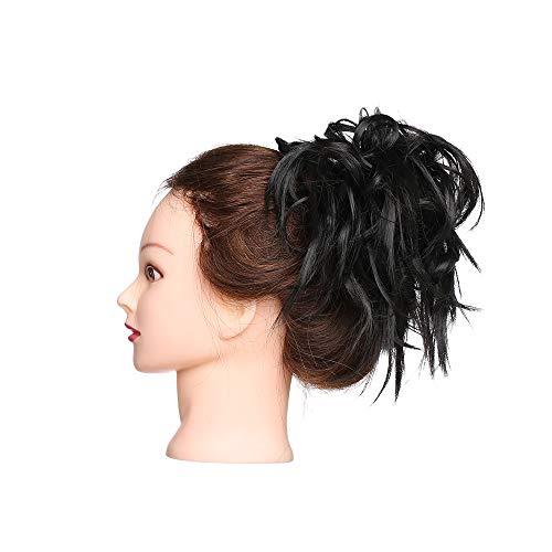 Extension chignon capelli finti messy hair bun elastico posticci ricci updo ponytail extensions coda di cavallo ciambella 45g, marrone scuro